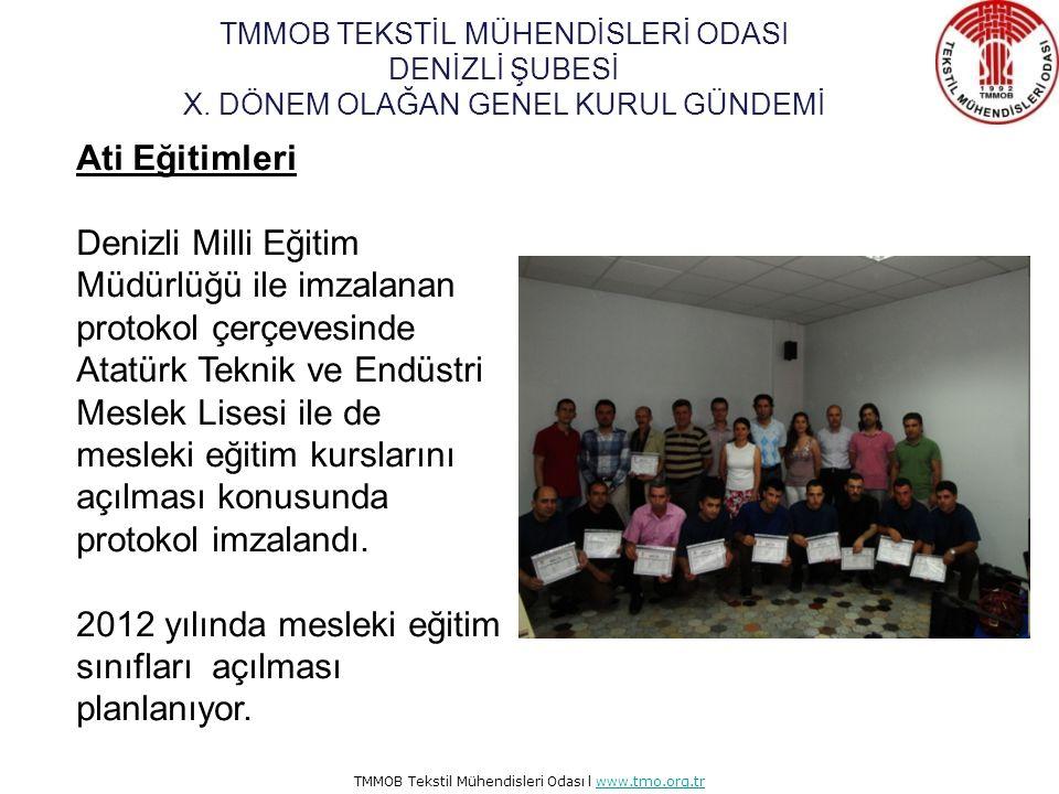 TMMOB Tekstil Mühendisleri Odası l www.tmo.org.trwww.tmo.org.tr Ati Eğitimleri ATİ eğitimleri kapsamında eğitim protokolü imzaladığımız firmalar aşağı