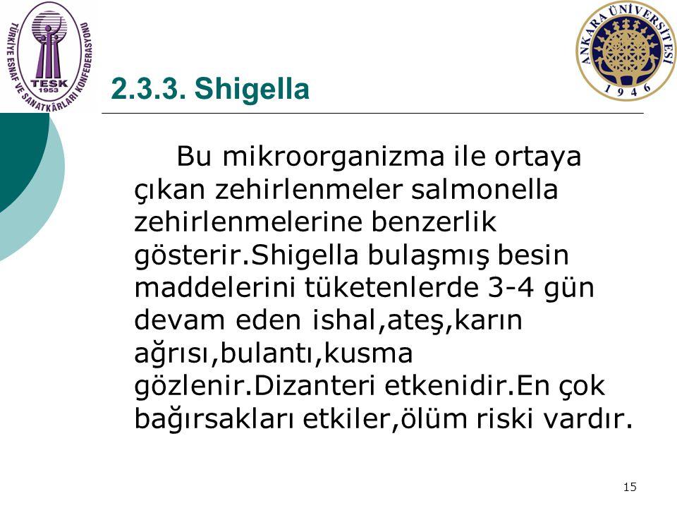 15 2.3.3. Shigella Bu mikroorganizma ile ortaya çıkan zehirlenmeler salmonella zehirlenmelerine benzerlik gösterir.Shigella bulaşmış besin maddelerini