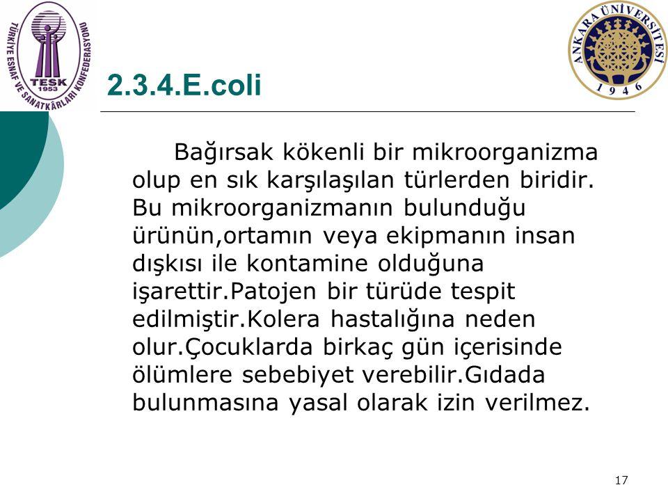 17 2.3.4.E.coli Bağırsak kökenli bir mikroorganizma olup en sık karşılaşılan türlerden biridir. Bu mikroorganizmanın bulunduğu ürünün,ortamın veya eki