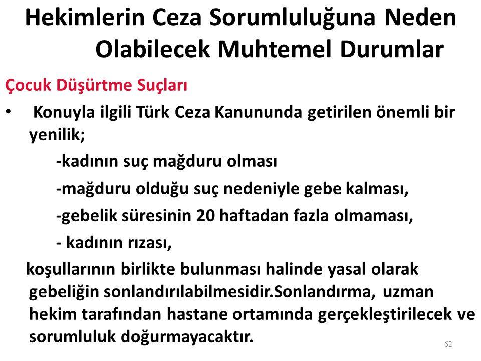Hekimlerin Ceza Sorumluluğuna Neden Olabilecek Muhtemel Durumlar Çocuk Düşürtme Suçları Konuyla ilgili Türk Ceza Kanununda getirilen önemli bir yenili