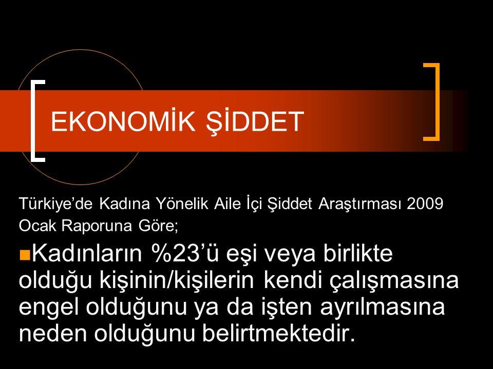 Türkiye'de Kadına Yönelik Aile İçi Şiddet Araştırması 2009 Ocak Raporuna Göre; Kadınların %23'ü eşi veya birlikte olduğu kişinin/kişilerin kendi çalış