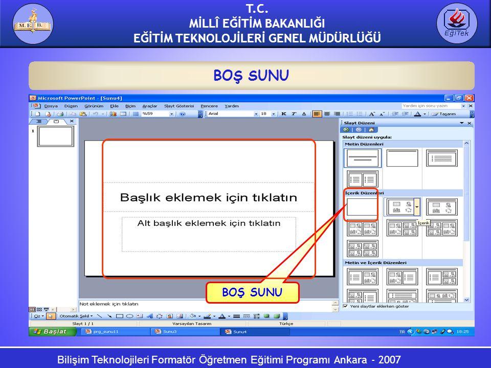 Bilişim Teknolojileri Formatör Öğretmen Eğitimi Programı Ankara - 2007 T.C. MİLLÎ EĞİTİM BAKANLIĞI EĞİTİM TEKNOLOJİLERİ GENEL MÜDÜRLÜĞÜ BOŞ SUNU