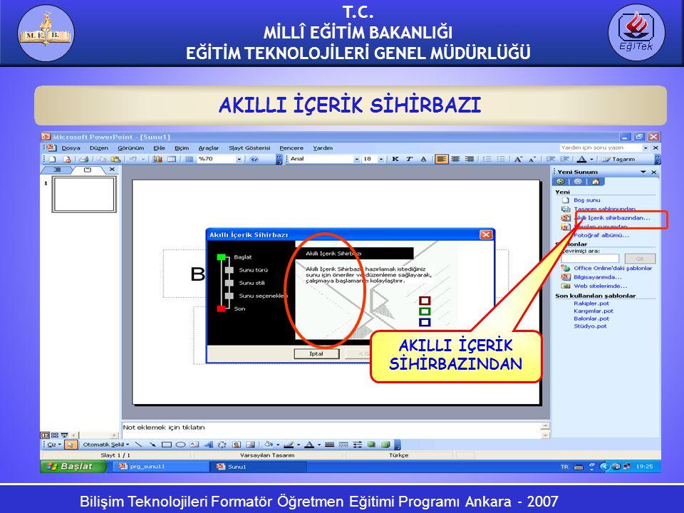 Bilişim Teknolojileri Formatör Öğretmen Eğitimi Programı Ankara - 2007 T.C. MİLLÎ EĞİTİM BAKANLIĞI EĞİTİM TEKNOLOJİLERİ GENEL MÜDÜRLÜĞÜ AKILLI İÇERİK