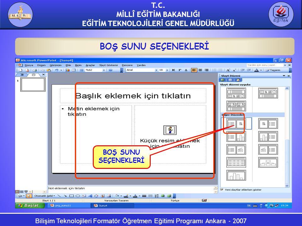 Bilişim Teknolojileri Formatör Öğretmen Eğitimi Programı Ankara - 2007 T.C. MİLLÎ EĞİTİM BAKANLIĞI EĞİTİM TEKNOLOJİLERİ GENEL MÜDÜRLÜĞÜ BOŞ SUNU SEÇEN