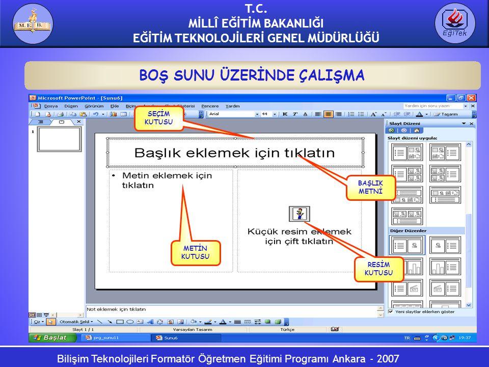 Bilişim Teknolojileri Formatör Öğretmen Eğitimi Programı Ankara - 2007 T.C. MİLLÎ EĞİTİM BAKANLIĞI EĞİTİM TEKNOLOJİLERİ GENEL MÜDÜRLÜĞÜ BOŞ SUNU ÜZERİ