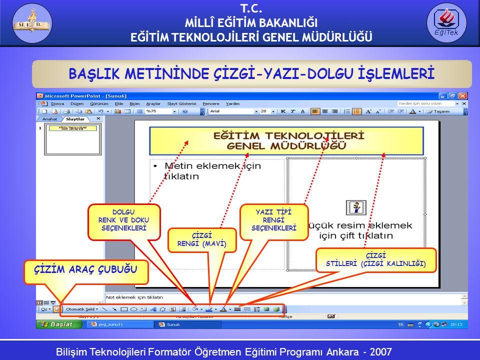 Bilişim Teknolojileri Formatör Öğretmen Eğitimi Programı Ankara - 2007 T.C. MİLLÎ EĞİTİM BAKANLIĞI EĞİTİM TEKNOLOJİLERİ GENEL MÜDÜRLÜĞÜ BAŞLIK METİNİN