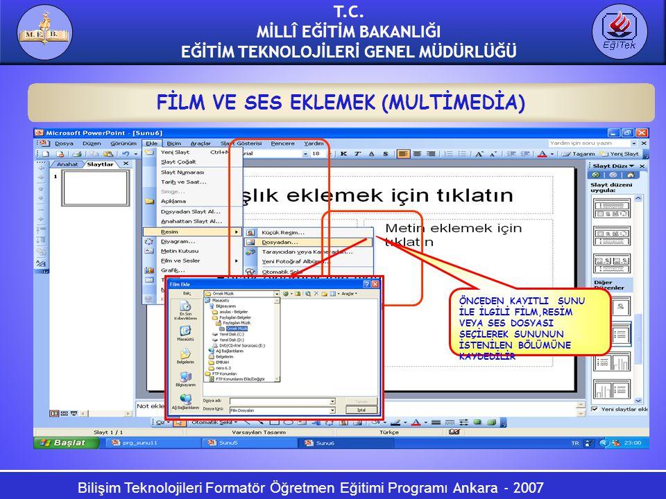 Bilişim Teknolojileri Formatör Öğretmen Eğitimi Programı Ankara - 2007 T.C. MİLLÎ EĞİTİM BAKANLIĞI EĞİTİM TEKNOLOJİLERİ GENEL MÜDÜRLÜĞÜ FİLM VE SES EK
