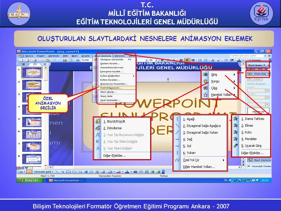 Bilişim Teknolojileri Formatör Öğretmen Eğitimi Programı Ankara - 2007 T.C. MİLLÎ EĞİTİM BAKANLIĞI EĞİTİM TEKNOLOJİLERİ GENEL MÜDÜRLÜĞÜ OLUŞTURULAN SL
