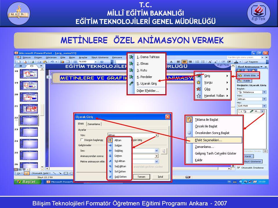 Bilişim Teknolojileri Formatör Öğretmen Eğitimi Programı Ankara - 2007 T.C. MİLLÎ EĞİTİM BAKANLIĞI EĞİTİM TEKNOLOJİLERİ GENEL MÜDÜRLÜĞÜ METİNLERE ÖZEL