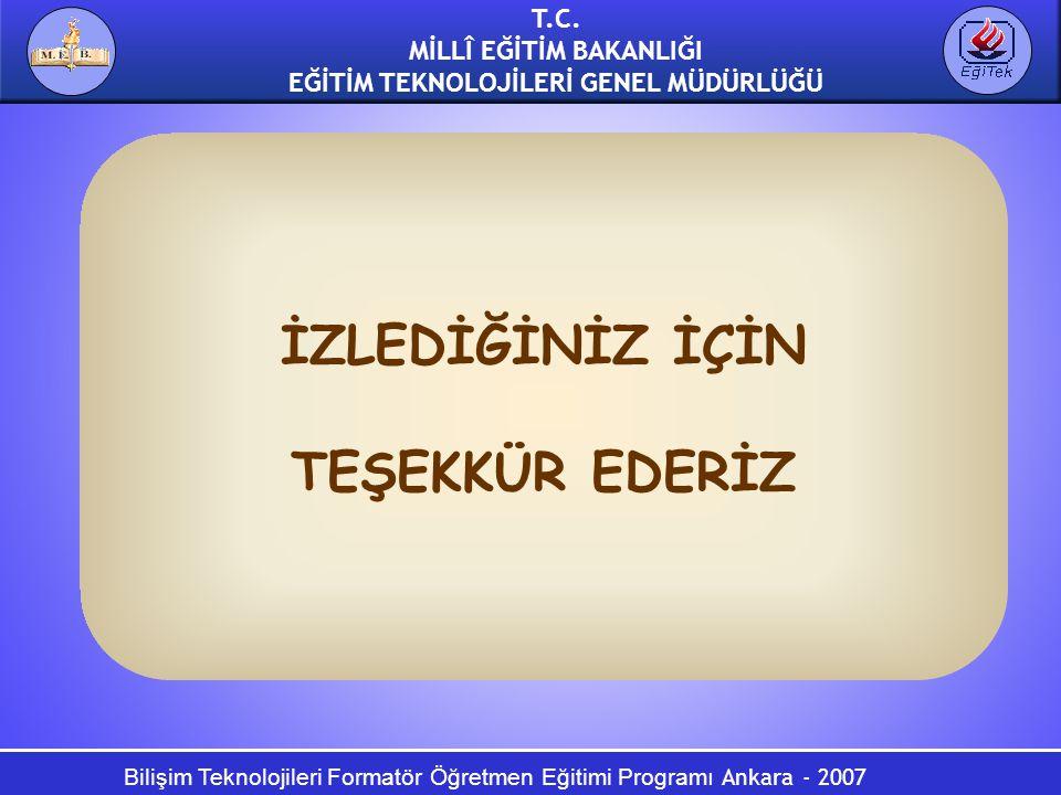 Bilişim Teknolojileri Formatör Öğretmen Eğitimi Programı Ankara - 2007 T.C. MİLLÎ EĞİTİM BAKANLIĞI EĞİTİM TEKNOLOJİLERİ GENEL MÜDÜRLÜĞÜ İZLEDİĞİNİZ İÇ