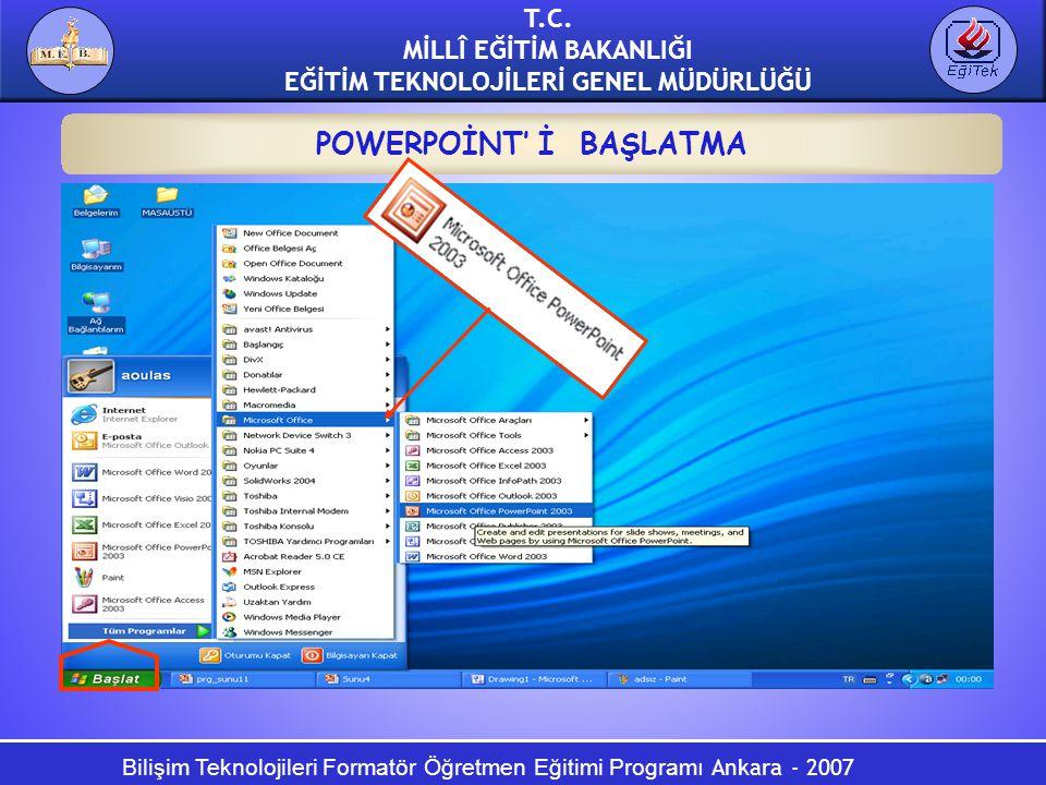 Bilişim Teknolojileri Formatör Öğretmen Eğitimi Programı Ankara - 2007 T.C. MİLLÎ EĞİTİM BAKANLIĞI EĞİTİM TEKNOLOJİLERİ GENEL MÜDÜRLÜĞÜ POWERPOİNT' İ