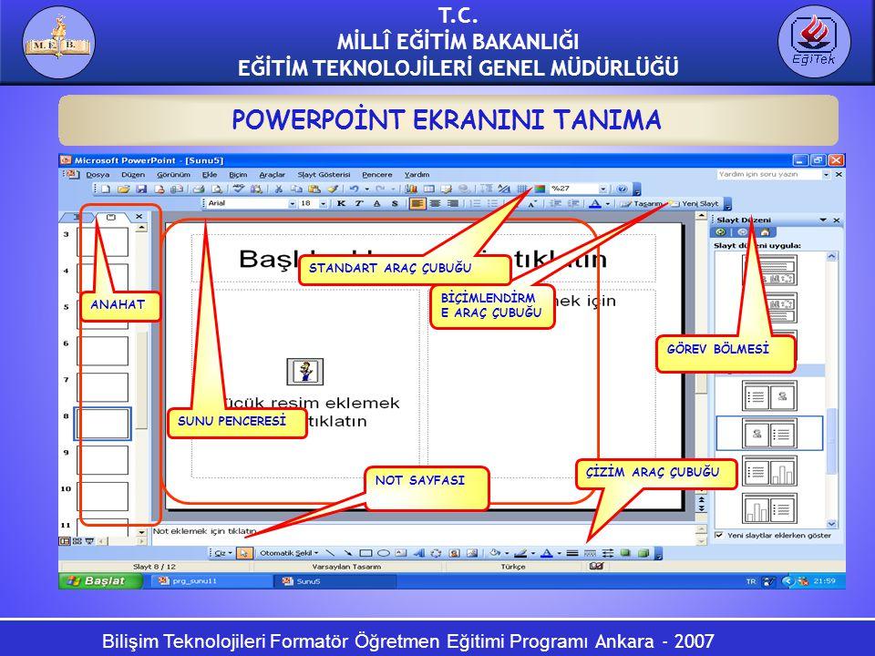 Bilişim Teknolojileri Formatör Öğretmen Eğitimi Programı Ankara - 2007 T.C. MİLLÎ EĞİTİM BAKANLIĞI EĞİTİM TEKNOLOJİLERİ GENEL MÜDÜRLÜĞÜ POWERPOİNT EKR