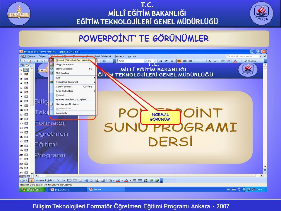 Bilişim Teknolojileri Formatör Öğretmen Eğitimi Programı Ankara - 2007 T.C. MİLLÎ EĞİTİM BAKANLIĞI EĞİTİM TEKNOLOJİLERİ GENEL MÜDÜRLÜĞÜ POWERPOİNT' TE