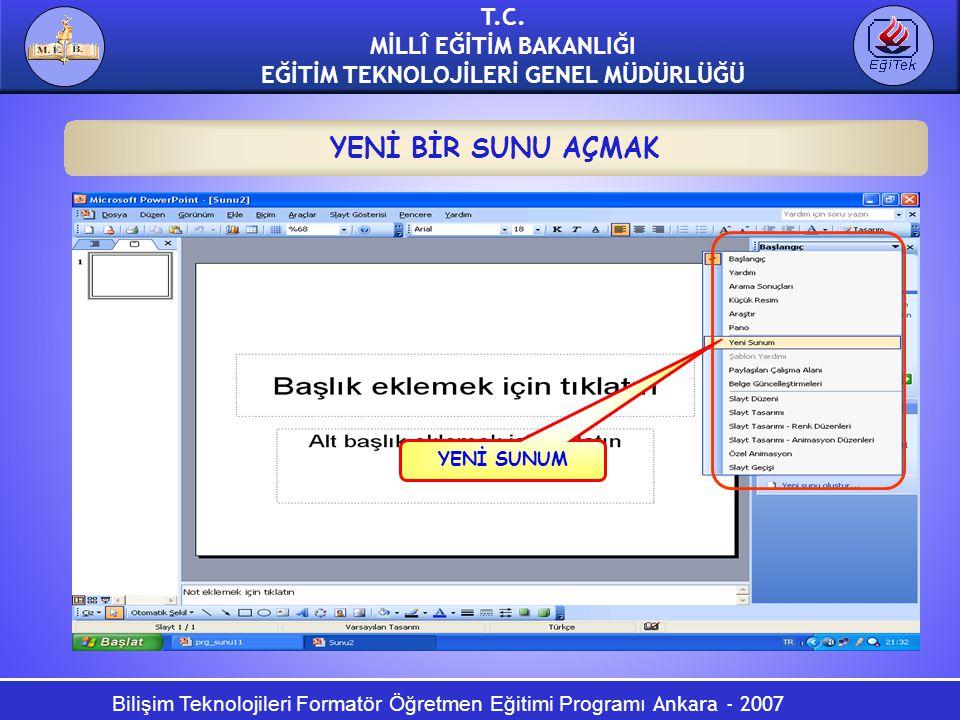 Bilişim Teknolojileri Formatör Öğretmen Eğitimi Programı Ankara - 2007 T.C. MİLLÎ EĞİTİM BAKANLIĞI EĞİTİM TEKNOLOJİLERİ GENEL MÜDÜRLÜĞÜ YENİ BİR SUNU