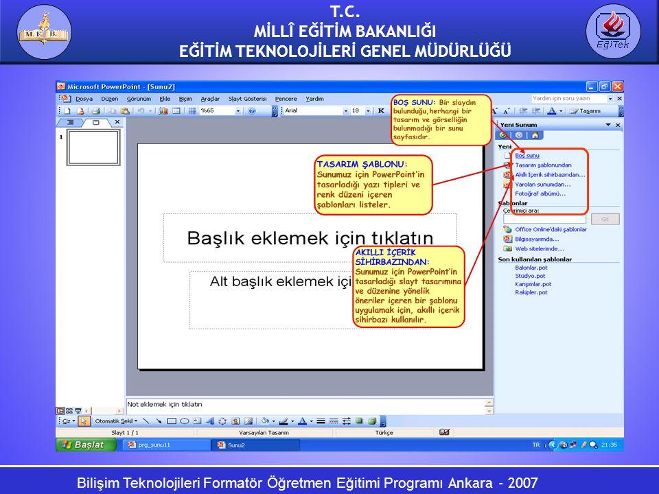 Bilişim Teknolojileri Formatör Öğretmen Eğitimi Programı Ankara - 2007 T.C. MİLLÎ EĞİTİM BAKANLIĞI EĞİTİM TEKNOLOJİLERİ GENEL MÜDÜRLÜĞÜ