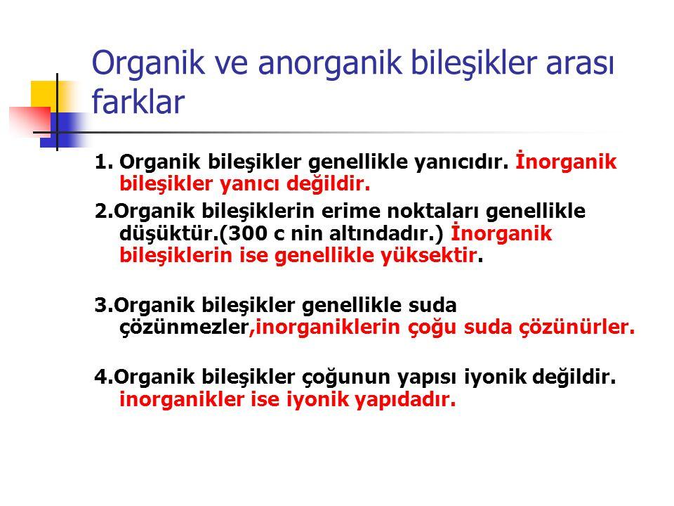 Organik ve anorganik bileşikler arası farklar 1. Organik bileşikler genellikle yanıcıdır. İnorganik bileşikler yanıcı değildir. 2.Organik bileşiklerin