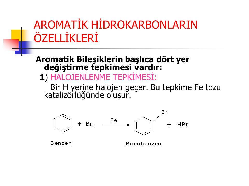 AROMATİK HİDROKARBONLARIN ÖZELLİKLERİ Aromatik Bileşiklerin başlıca dört yer değiştirme tepkimesi vardır: 1) HALOJENLENME TEPKİMESİ: Bir H yerine halo