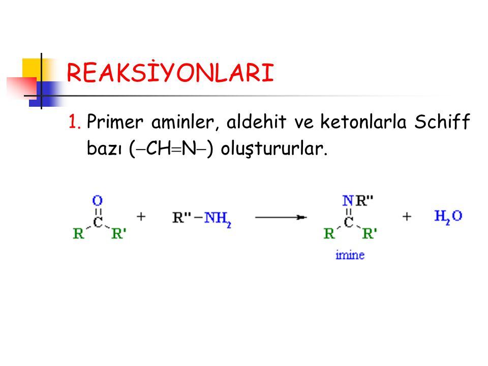 REAKSİYONLARI 1. Primer aminler, aldehit ve ketonlarla Schiff bazı (  CH  N  ) oluştururlar.
