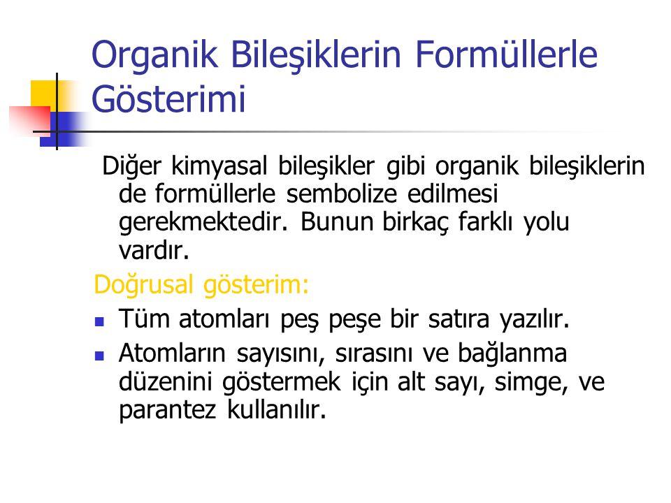 Organik Bileşiklerin Formüllerle Gösterimi Diğer kimyasal bileşikler gibi organik bileşiklerin de formüllerle sembolize edilmesi gerekmektedir. Bunun