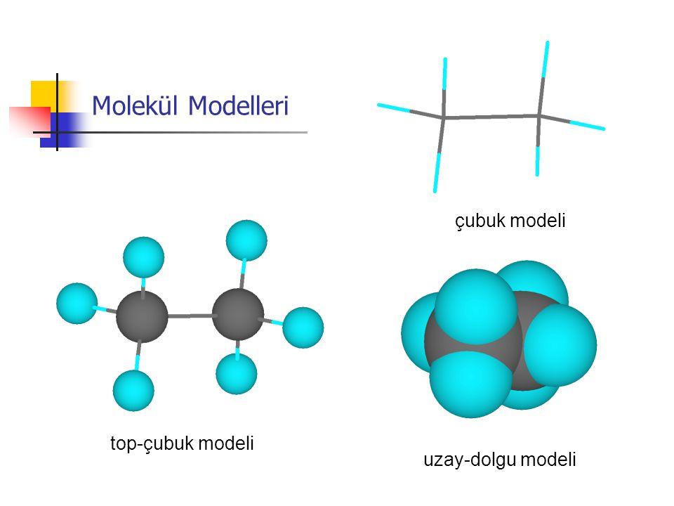 Molekül Modelleri top-çubuk modeli uzay-dolgu modeli çubuk modeli