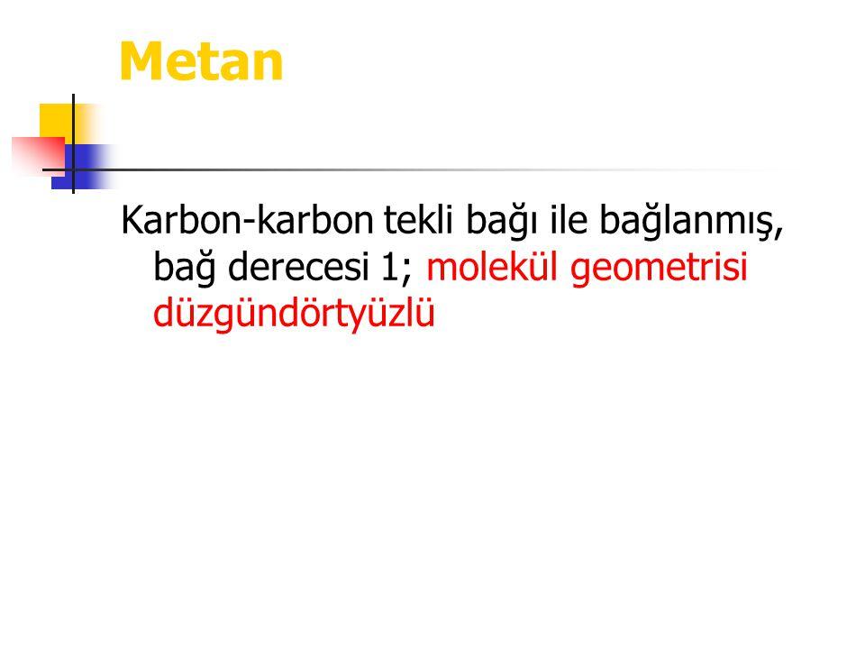 Metan Karbon-karbon tekli bağı ile bağlanmış, bağ derecesi 1; molekül geometrisi düzgündörtyüzlü