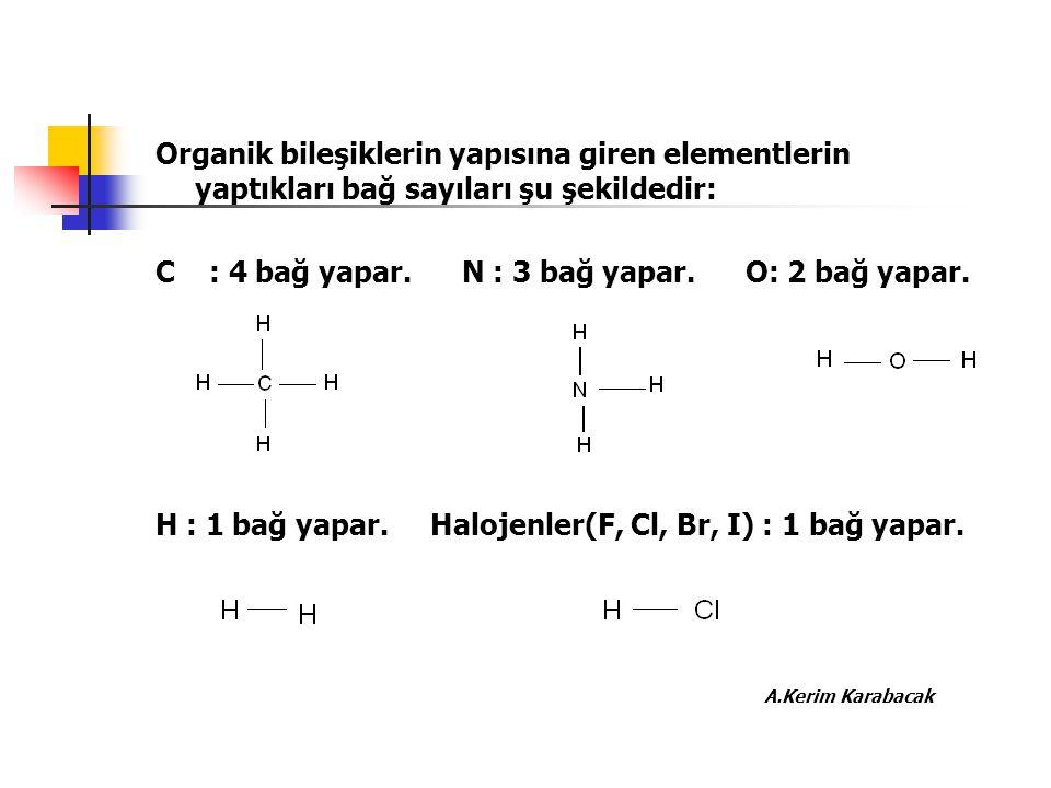 Organik bileşiklerin yapısına giren elementlerin yaptıkları bağ sayıları şu şekildedir: C : 4 bağ yapar. N : 3 bağ yapar. O: 2 bağ yapar. H : 1 bağ ya