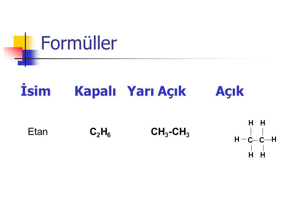 Formüller İsim Kapalı Yarı Açık Açık EtanC2H6C2H6 CH 3 -CH 3 H C H HH HH
