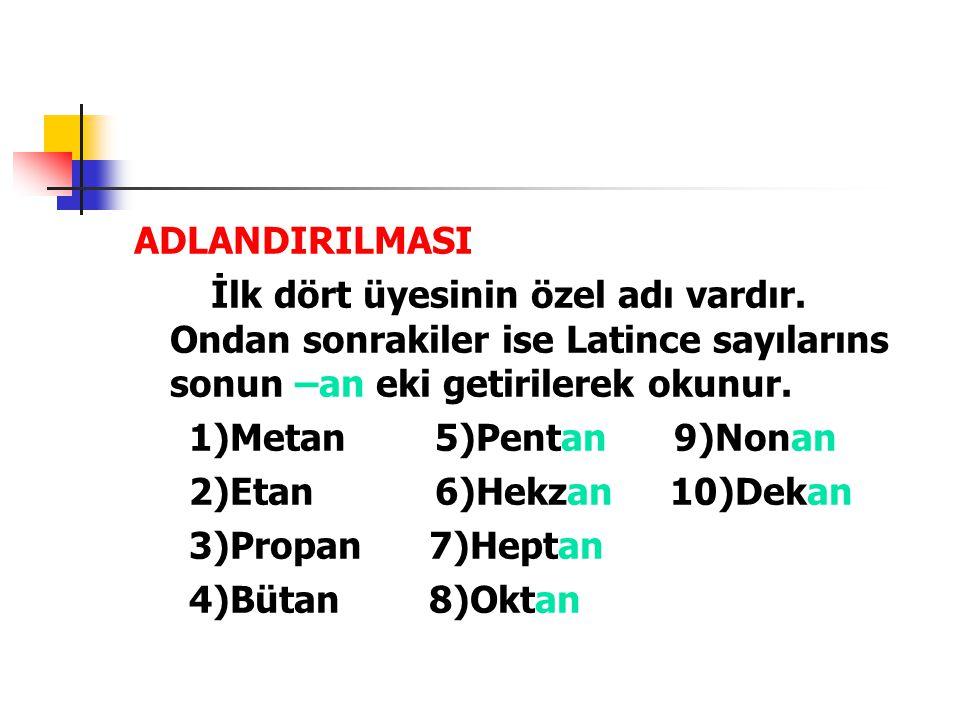 ADLANDIRILMASI İlk dört üyesinin özel adı vardır. Ondan sonrakiler ise Latince sayılarıns sonun –an eki getirilerek okunur. 1)Metan 5)Pentan 9)Nonan 2