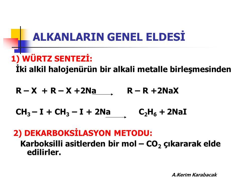 ALKANLARIN GENEL ELDESİ 1) WÜRTZ SENTEZİ: İki alkil halojenürün bir alkali metalle birleşmesinden R – X + R – X +2Na R – R +2NaX CH 3 – I + CH 3 – I +