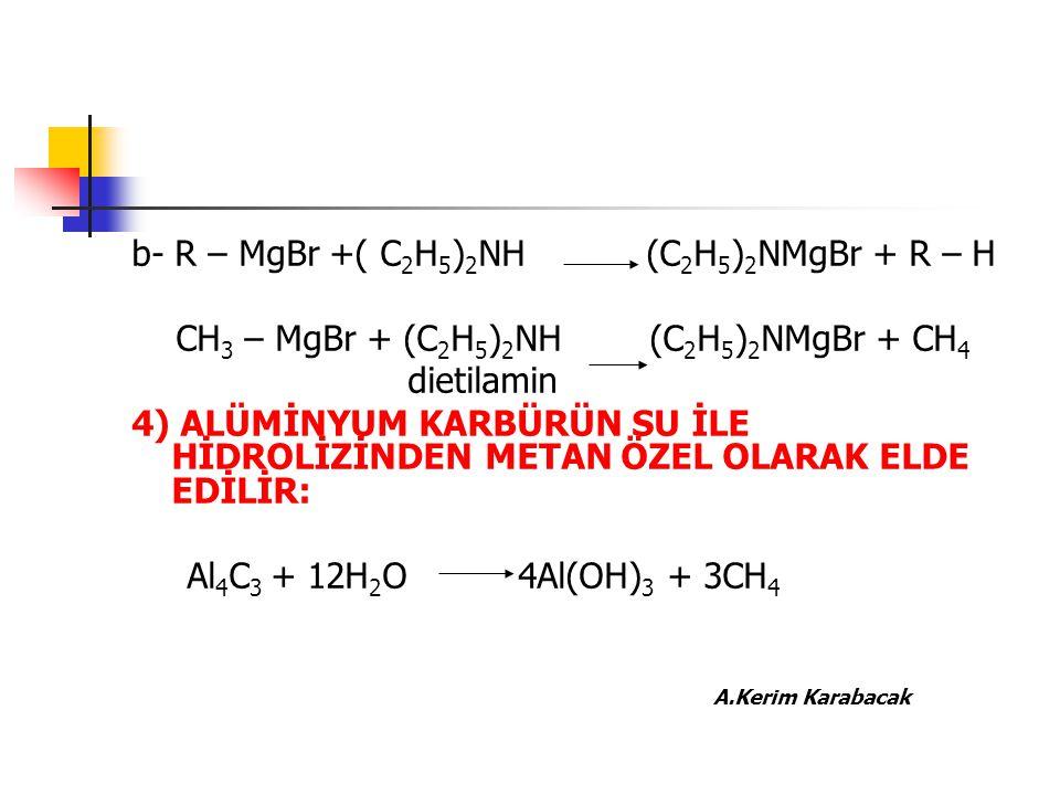 b- R – MgBr +( C 2 H 5 ) 2 NH (C 2 H 5 ) 2 NMgBr + R – H CH 3 – MgBr + (C 2 H 5 ) 2 NH (C 2 H 5 ) 2 NMgBr + CH 4 dietilamin 4) ALÜMİNYUM KARBÜRÜN SU İ