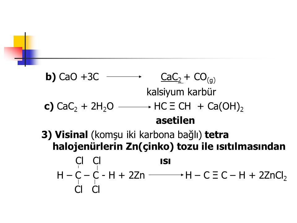 b) CaO +3C CaC 2 + CO (g) kalsiyum karbür c) CaC 2 + 2H 2 O HC Ξ CH + Ca(OH) 2 asetilen 3) Visinal (komşu iki karbona bağlı) tetra halojenürlerin Zn(ç