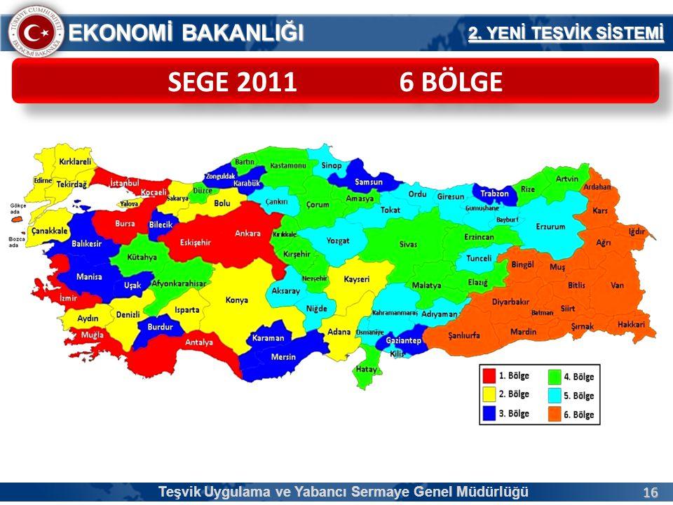 16 EKONOMİ BAKANLIĞI SEGE 2011 6 BÖLGE 2.