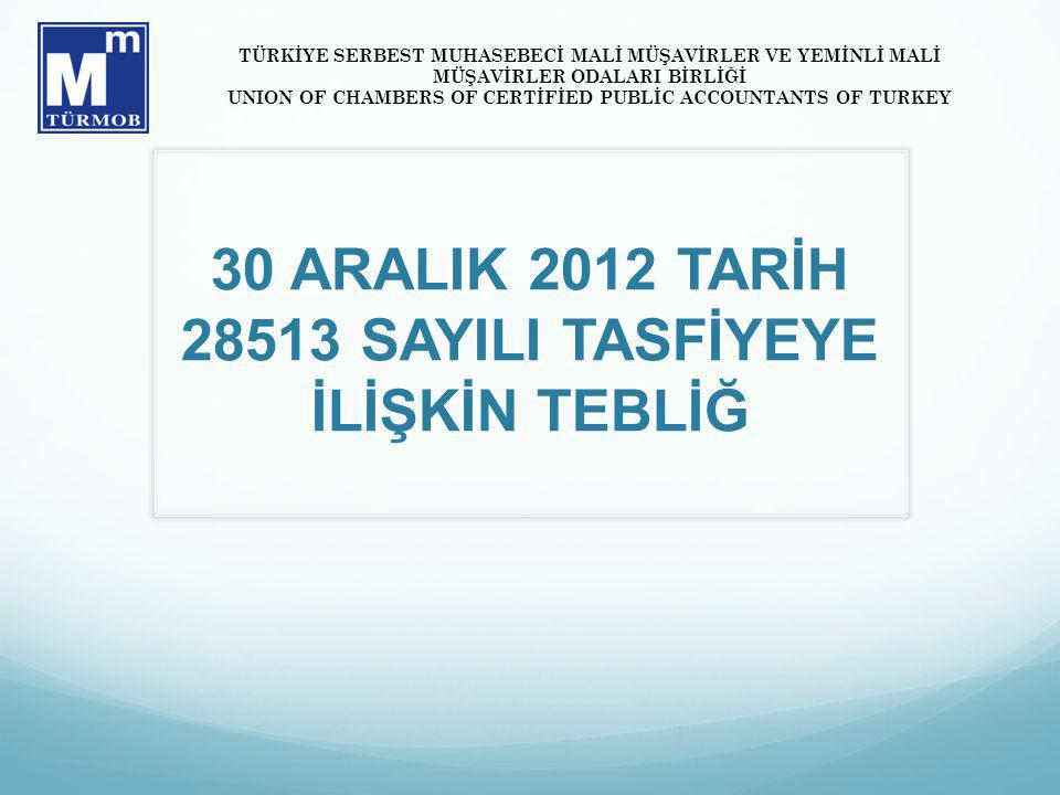 30 ARALIK 2012 TARİH SAYILI TASFİYEYE İLİŞKİN TEBLİĞ TÜRKİYE SERBEST MUHASEBECİ MALİ MÜŞAVİRLER VE YEMİNLİ MALİ MÜŞAVİRLER ODALARI BİRLİĞİ UNION OF CHAMBERS OF CERTİFİED PUBLİC ACCOUNTANTS OF TURKEY
