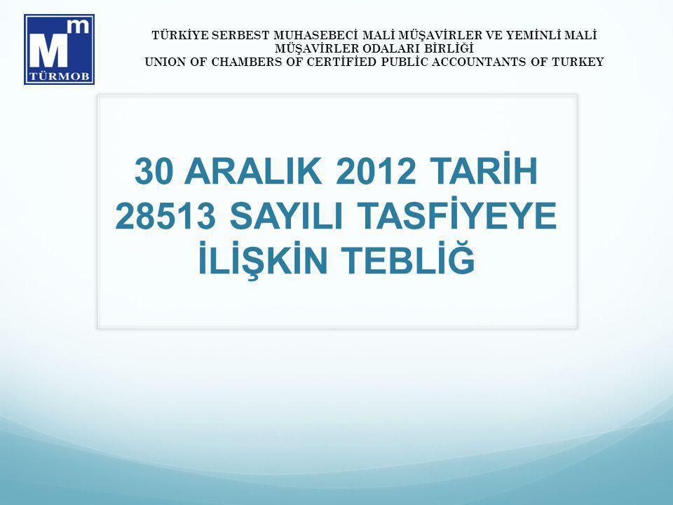 30 ARALIK 2012 TARİH 28513 SAYILI TASFİYEYE İLİŞKİN TEBLİĞ TÜRKİYE SERBEST MUHASEBECİ MALİ MÜŞAVİRLER VE YEMİNLİ MALİ MÜŞAVİRLER ODALARI BİRLİĞİ UNION