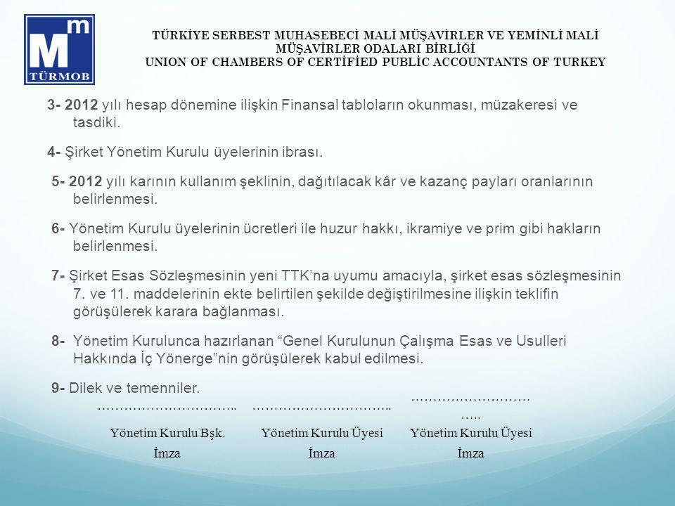 3- 2012 yılı hesap dönemine ilişkin Finansal tabloların okunması, müzakeresi ve tasdiki. 4- Şirket Yönetim Kurulu üyelerinin ibrası. 5- 2012 yılı karı