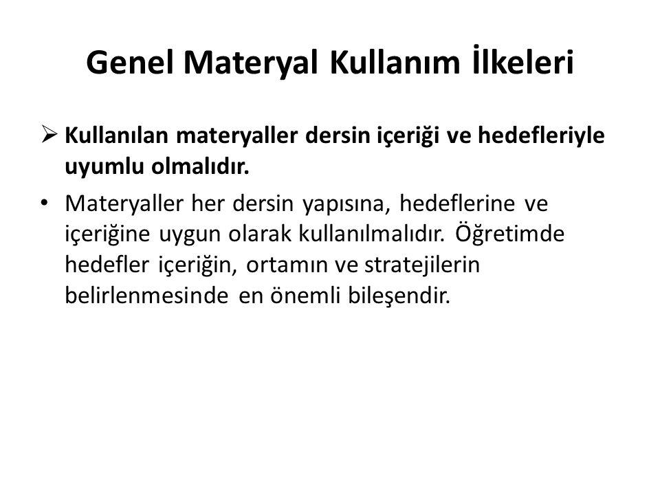 Genel Materyal Kullanım İlkeleri  Kullanılan materyaller dersin içeriği ve hedefleriyle uyumlu olmalıdır. Materyaller her dersin yapısına, hedeflerin