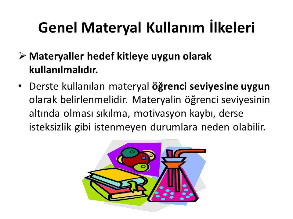  Materyaller hedef kitleye uygun olarak kullanılmalıdır. Derste kullanılan materyal öğrenci seviyesine uygun olarak belirlenmelidir. Materyalin öğren