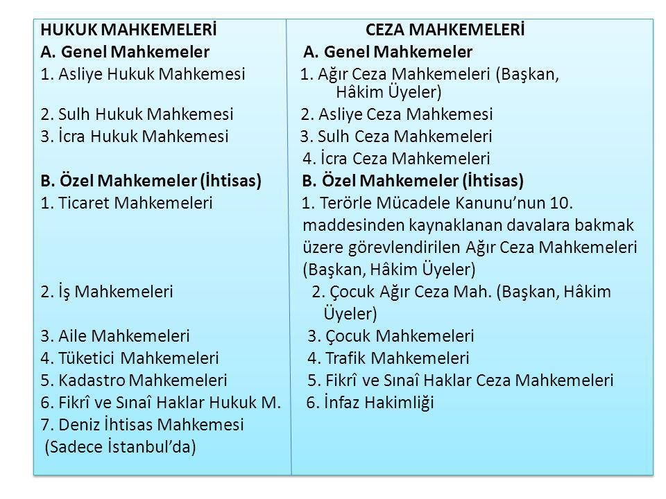 HUKUK MAHKEMELERİ CEZA MAHKEMELERİ A.Genel Mahkemeler 1.