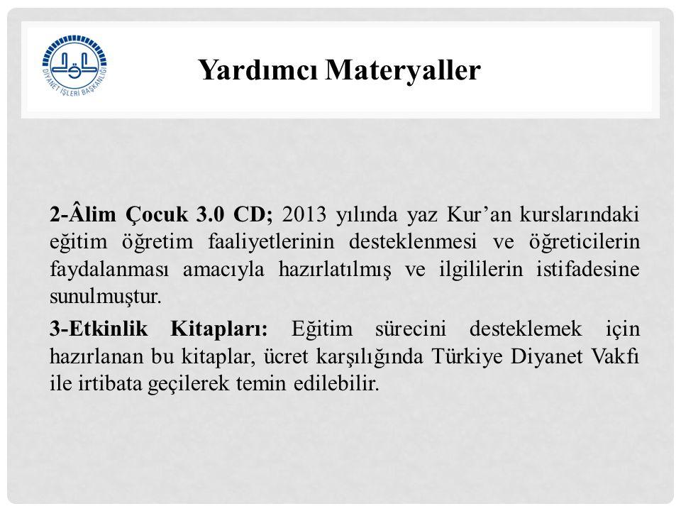 Yardımcı Materyaller İstifade Edilecek İnternet Siteleri 1.http://www2.diyanet.gov.tr/EgitimHizmetleriGenelMudurlugu/ Sayfalar/Materyaller.aspx 2.http://kurs.diyanet.gov.tr/