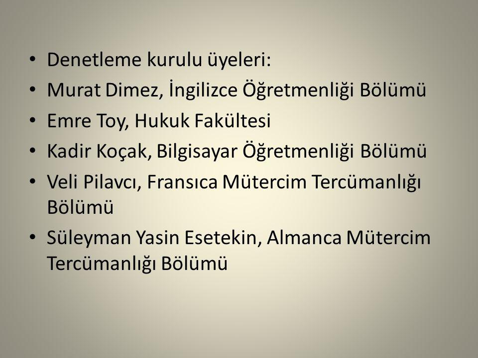 Denetleme kurulu üyeleri: Murat Dimez, İngilizce Öğretmenliği Bölümü Emre Toy, Hukuk Fakültesi Kadir Koçak, Bilgisayar Öğretmenliği Bölümü Veli Pilavc