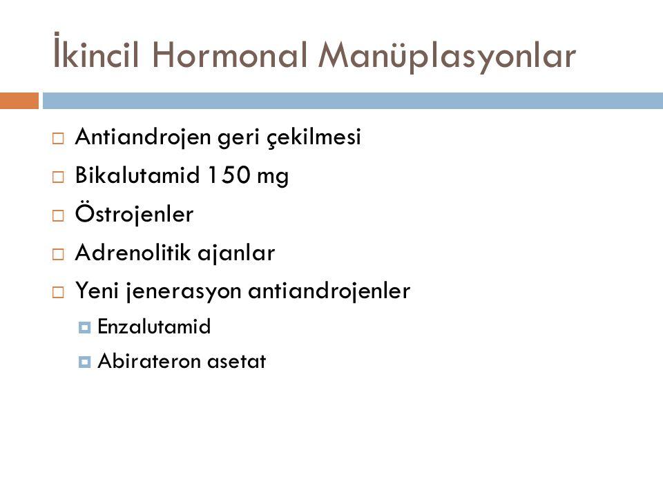 İ kincil Hormonal Manüplasyonlar – Antiandrojen Çekilmesi  Hastaların 1/3'ünde >%50 PSA düşüşü sa ğ lamakta ve ~ 4 ay sürmektedir.