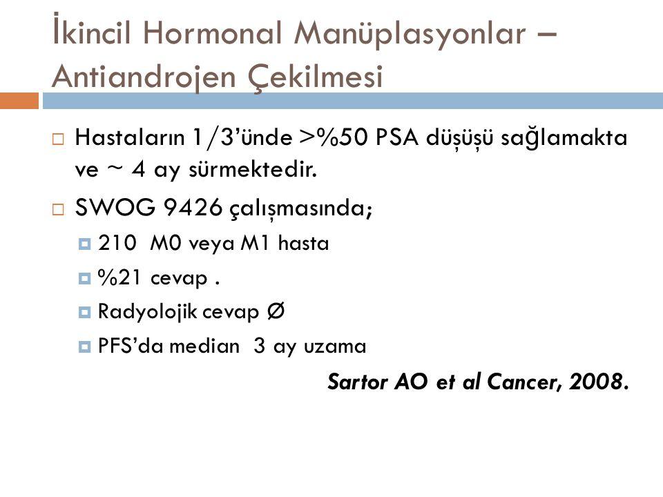 İ kincil Hormonal Manüplasyonlar – Yüksek doz Bikalutamid  Bicalutamide ile yüksek dozda daha iyi PSA cevabı elde edilmektedir.