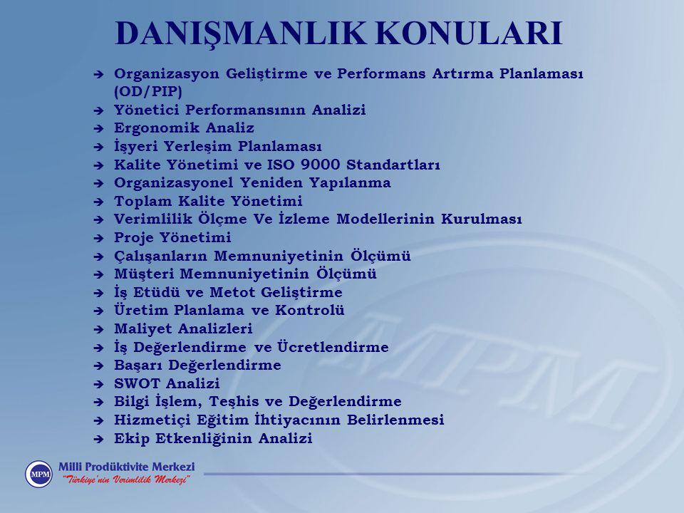 DANIŞMANLIK KONULARI è Organizasyon Geliştirme ve Performans Artırma Planlaması (OD/PIP) è Yönetici Performansının Analizi è Ergonomik Analiz è İşyeri Yerleşim Planlaması è Kalite Yönetimi ve ISO 9000 Standartları è Organizasyonel Yeniden Yapılanma è Toplam Kalite Yönetimi è Verimlilik Ölçme Ve İzleme Modellerinin Kurulması è Proje Yönetimi è Çalışanların Memnuniyetinin Ölçümü è Müşteri Memnuniyetinin Ölçümü è İş Etüdü ve Metot Geliştirme è Üretim Planlama ve Kontrolü è Maliyet Analizleri è İş Değerlendirme ve Ücretlendirme è Başarı Değerlendirme è SWOT Analizi è Bilgi İşlem, Teşhis ve Değerlendirme è Hizmetiçi Eğitim İhtiyacının Belirlenmesi è Ekip Etkenliğinin Analizi