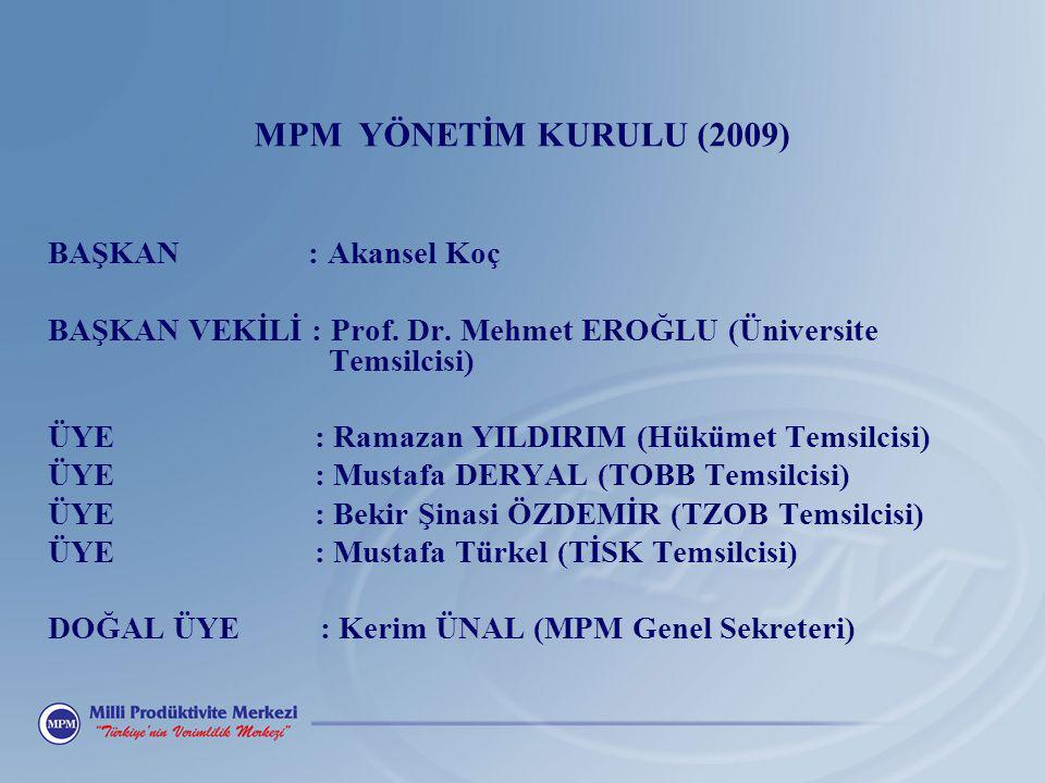 MPM YÖNETİM KURULU (2009) BAŞKAN : Akansel Koç BAŞKAN VEKİLİ : Prof. Dr. Mehmet EROĞLU (Üniversite Temsilcisi) ÜYE : Ramazan YILDIRIM (Hükümet Temsilc