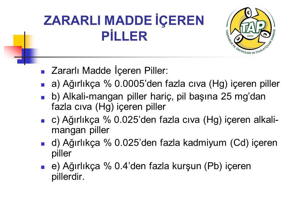 ZARARLI MADDE İÇEREN PİLLER Zararlı Madde İçeren Piller: a) Ağırlıkça % 0.0005'den fazla cıva (Hg) içeren piller b) Alkali-mangan piller hariç, pil başına 25 mg'dan fazla cıva (Hg) içeren piller c) Ağırlıkça % 0.025'den fazla cıva (Hg) içeren alkali- mangan piller d) Ağırlıkça % 0.025'den fazla kadmiyum (Cd) içeren piller e) Ağırlıkça % 0.4'den fazla kurşun (Pb) içeren pillerdir.