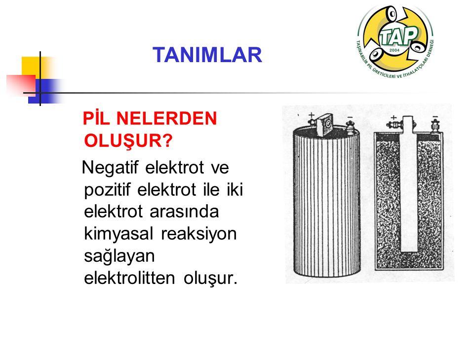 TANIMLAR PİL NELERDEN OLUŞUR? Negatif elektrot ve pozitif elektrot ile iki elektrot arasında kimyasal reaksiyon sağlayan elektrolitten oluşur.