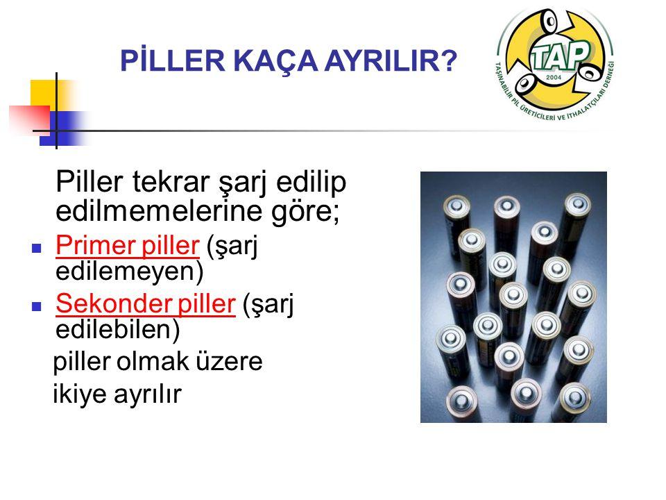 PİLLER KAÇA AYRILIR? Piller tekrar şarj edilip edilmemelerine göre; Primer piller (şarj edilemeyen) Sekonder piller (şarj edilebilen) piller olmak üze