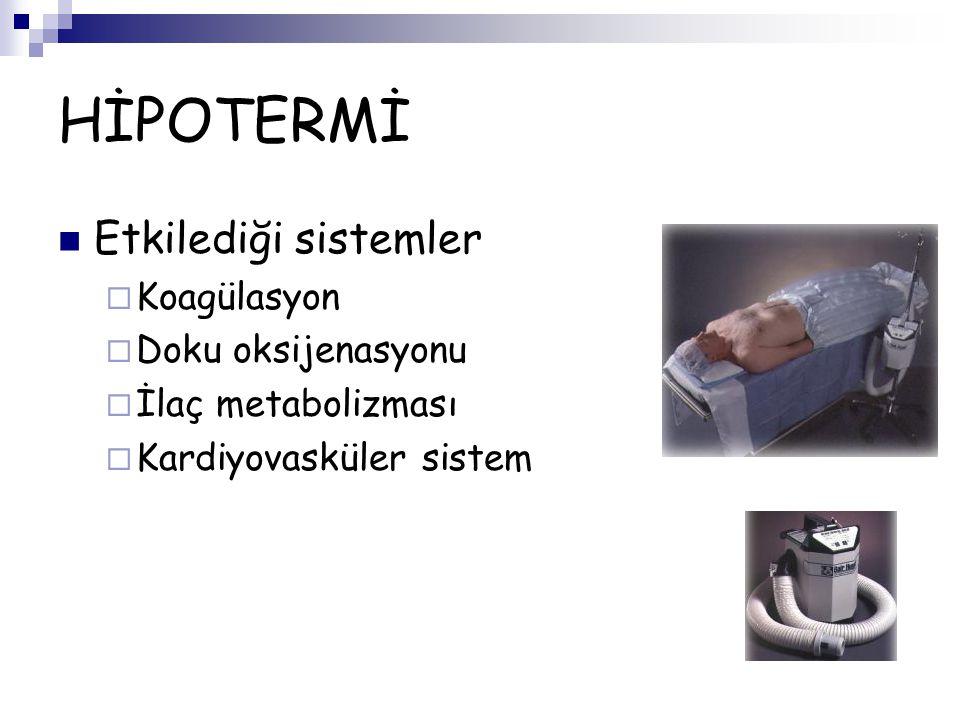 HİPOTERMİ Etkilediği sistemler  Koagülasyon  Doku oksijenasyonu  İlaç metabolizması  Kardiyovasküler sistem