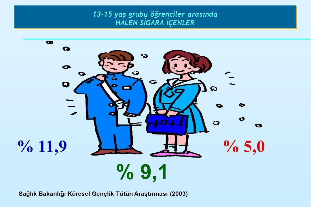 13-15 yaş grubu öğrenciler arasında HALEN SİGARA İÇENLER % 11,9% 5,0 % 9,1 Sağlık Bakanlığı Küresel Gençlik Tütün Araştırması (2003)