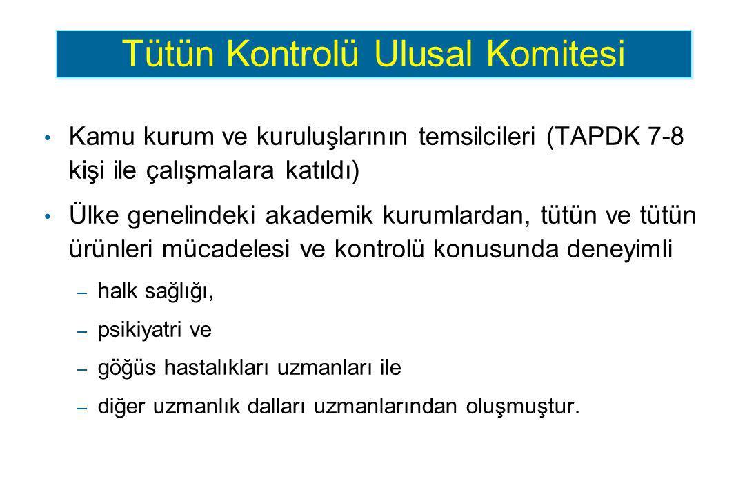 Kamu kurum ve kuruluşlarının temsilcileri (TAPDK 7-8 kişi ile çalışmalara katıldı) Ülke genelindeki akademik kurumlardan, tütün ve tütün ürünleri müca